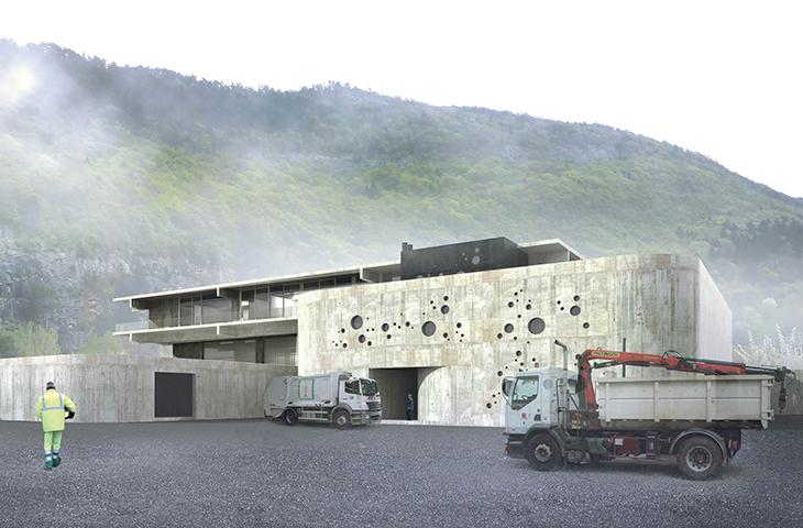 chantier en cours – construction du bâtiment des services de l'eau et des déchets à Annecy – haute savoie