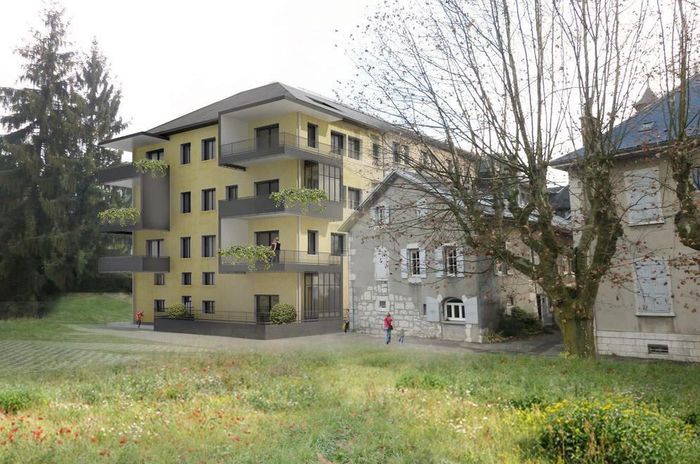 chantier en cours – transformation du couvent de lémenc en logements à chambéry – savoie