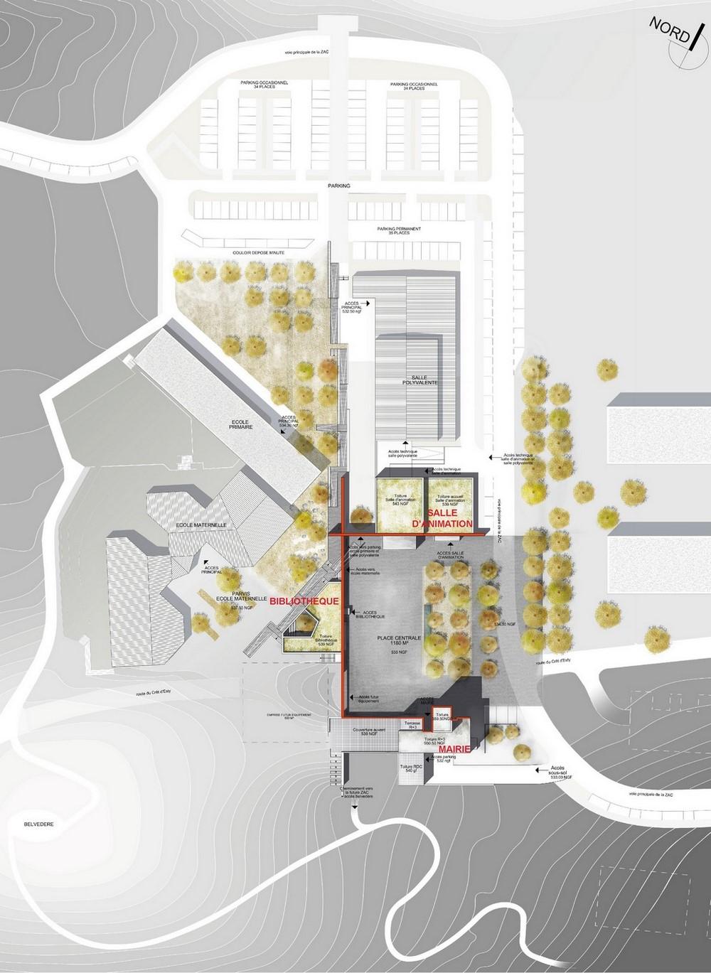 pateyarchitectes - concours pour la réalisation de la nouvelle mairie, de la bibliothèque, ... à chavanod - haute savoie