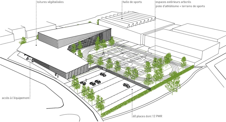 pateyarchitectes - olgga - construction d'un équipement sportif spécifique, d'une piste d'athlétisme, ... à aix les bains - savoie