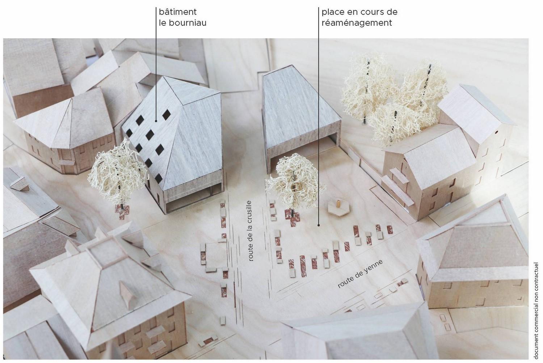 pateyarchitectes - réaménagement de la place du bourniau, construction d'une halle de marché, commerces à novalaise - savoie